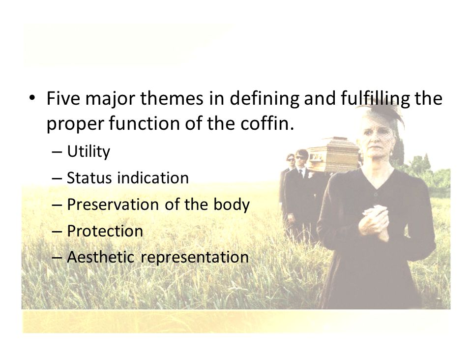 Five major themes in defining and fulfilling the proper function of the coffin.