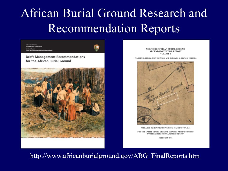 African Burial Ground Research and Recommendation Reports