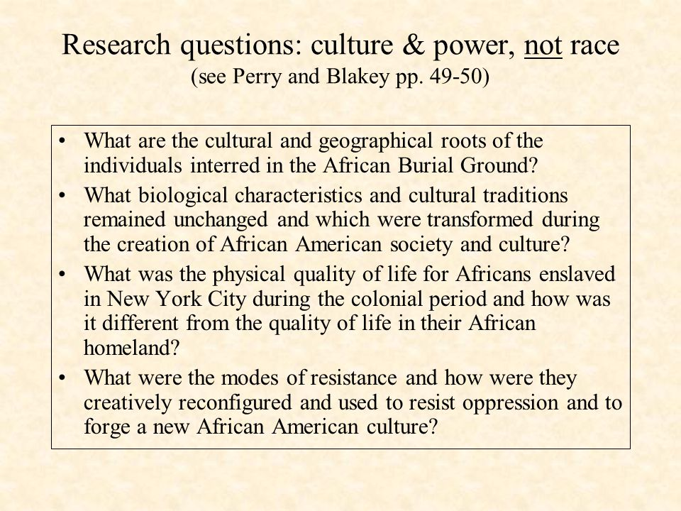 Research questions: culture & power, not race (see Perry and Blakey pp