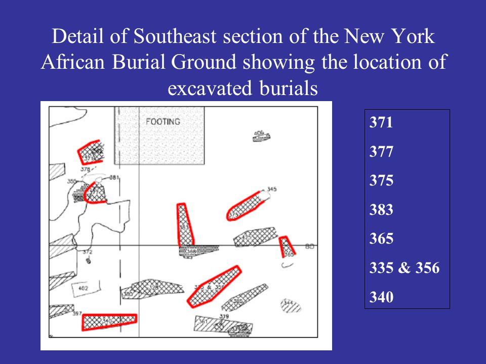 Detail of Southeast section of the New York African Burial Ground showing the location of excavated burials