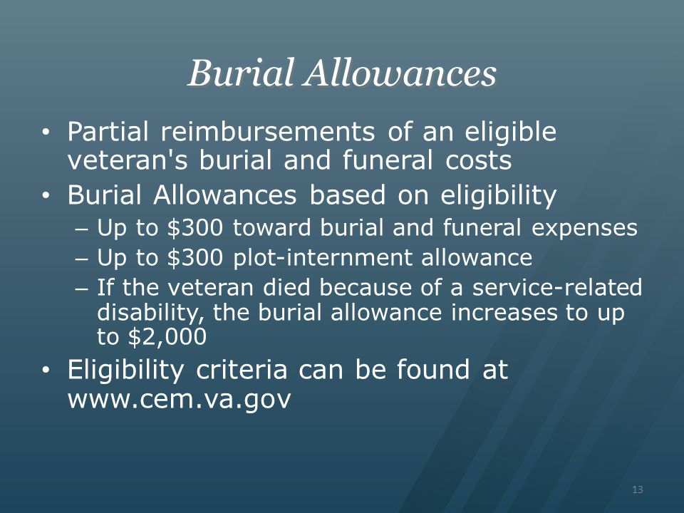 Burial Allowances Partial reimbursements of an eligible veteran s burial and funeral costs. Burial Allowances based on eligibility.