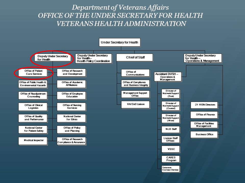 Department of Veterans Affairs OFFICE OF THE UNDER SECRETARY FOR HEALTH VETERANS HEALTH ADMINISTRATION