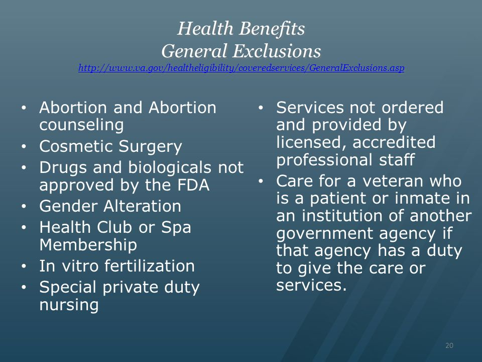 Health Benefits General Exclusions http://www. va