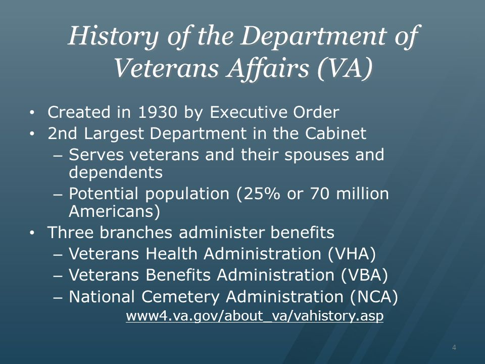 History of the Department of Veterans Affairs (VA)
