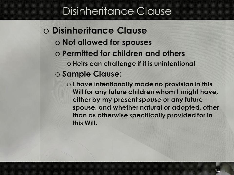 Disinheritance Clause