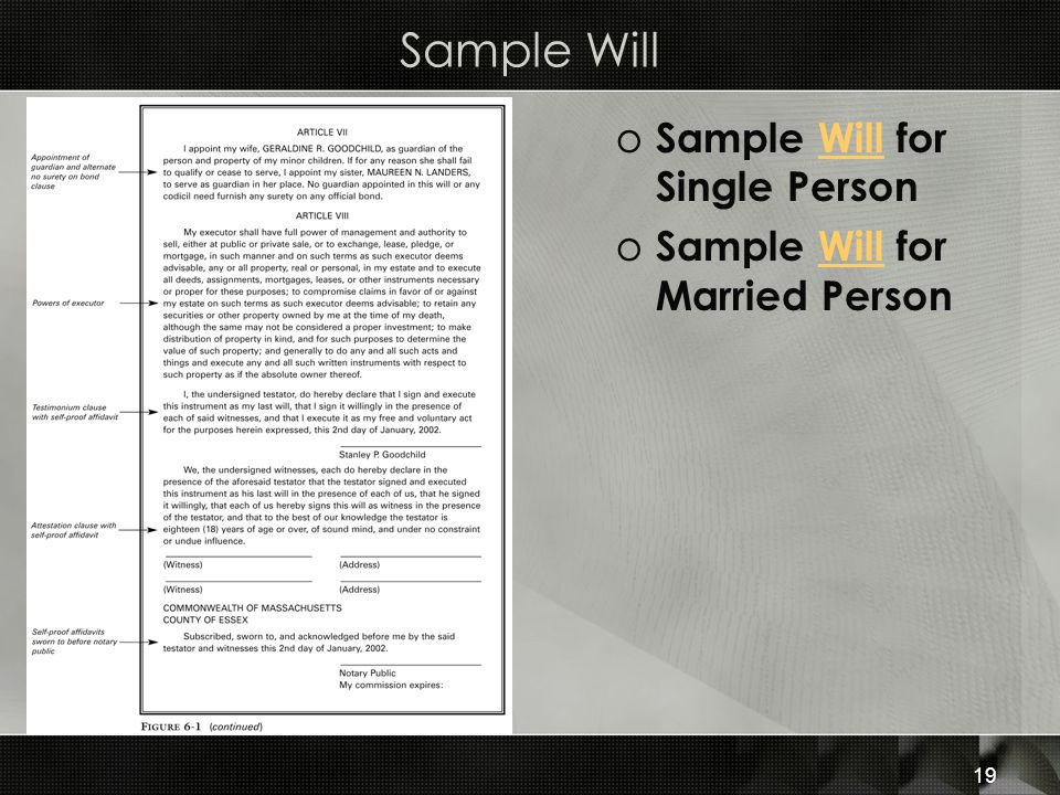 Sample Will Sample Will for Single Person