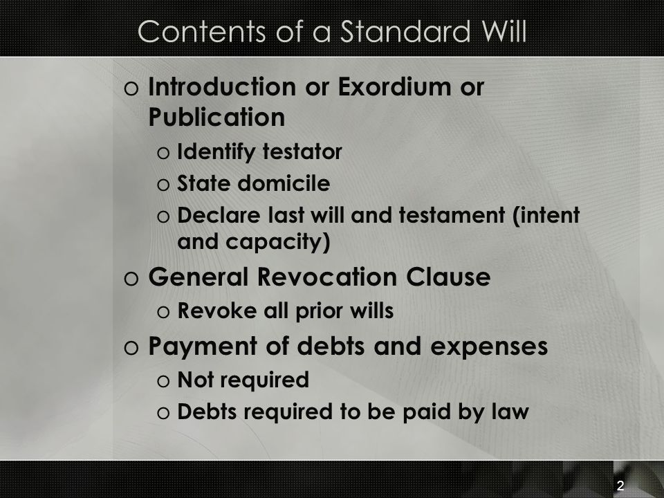 Contents of a Standard Will