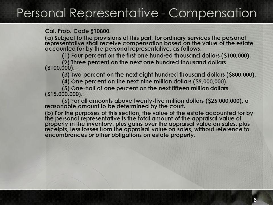 Personal Representative - Compensation