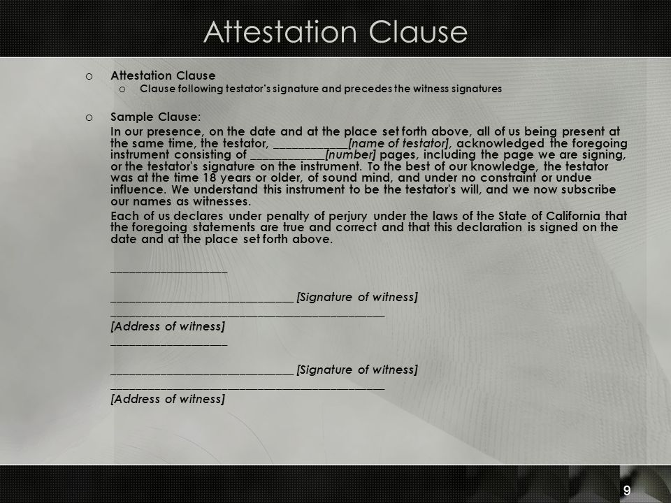 Attestation Clause Attestation Clause Sample Clause: