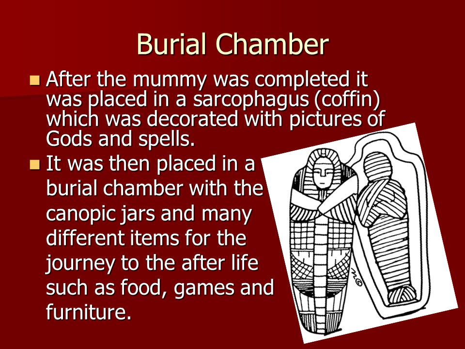Burial Chamber After the mummy was completed it was placed in a sarcophagus (coffin) which was decorated with pictures of Gods and spells.