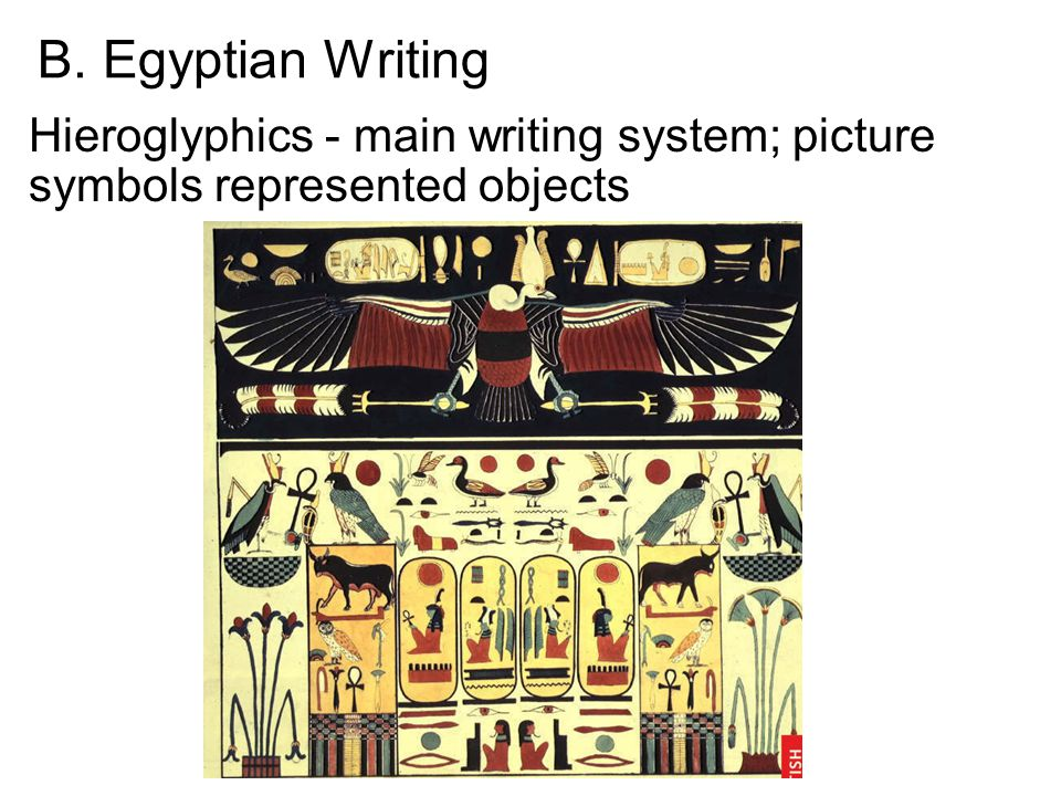 B. Egyptian Writing Hieroglyphics - main writing system; picture symbols represented objects