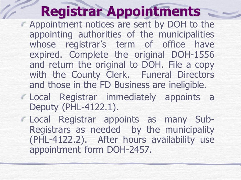 Registrar Appointments