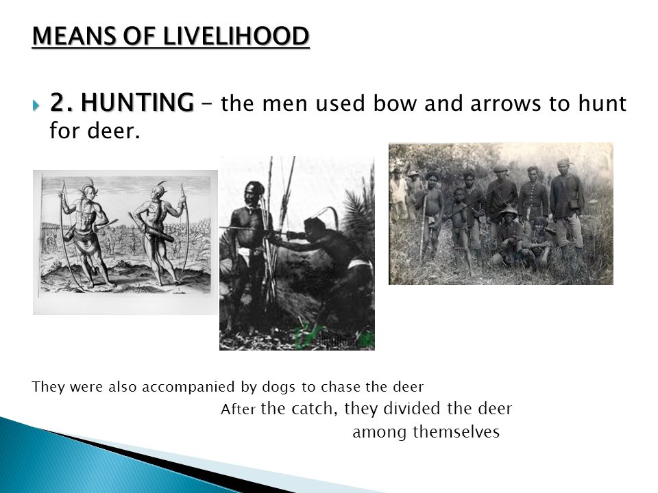 2. HUNTING – the men used bow and arrows to hunt for deer.