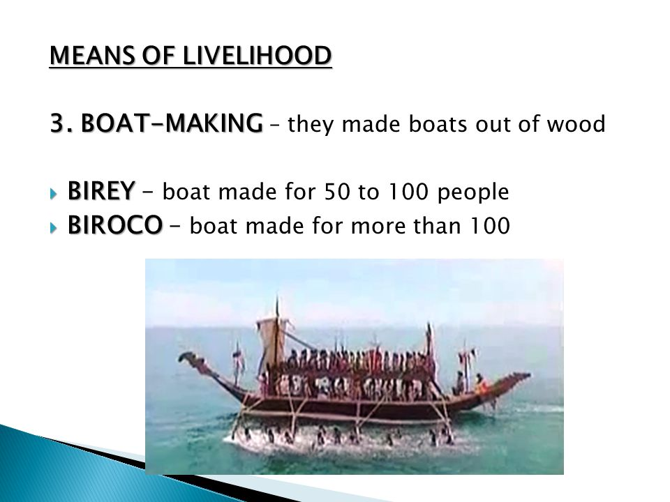 MEANS OF LIVELIHOOD 3. BOAT-MAKING – they made boats out of wood. BIREY – boat made for 50 to 100 people.