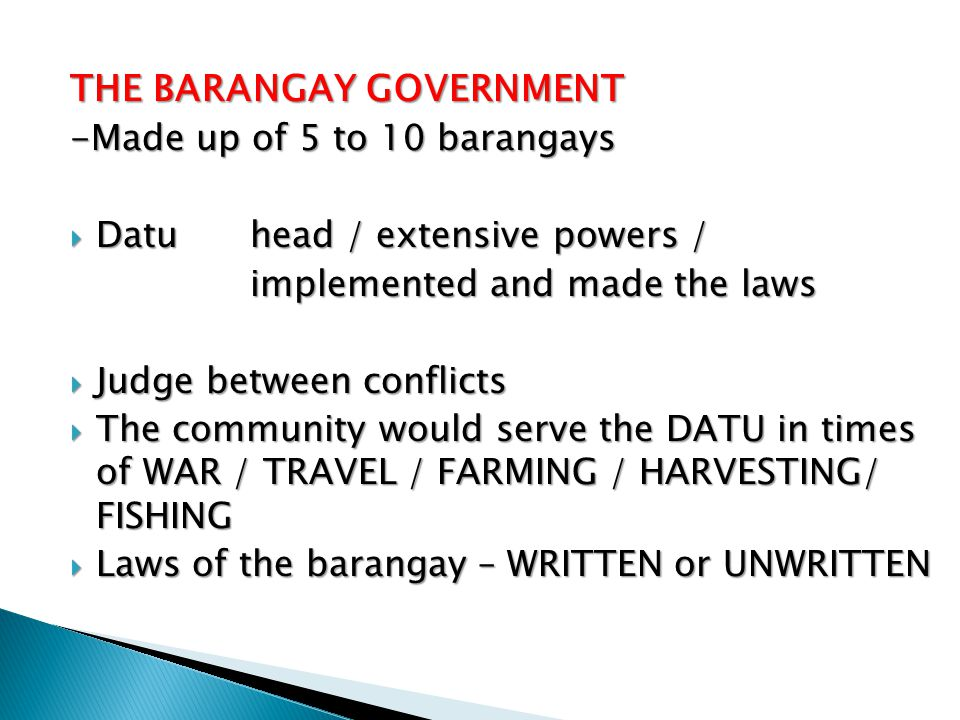 THE BARANGAY GOVERNMENT