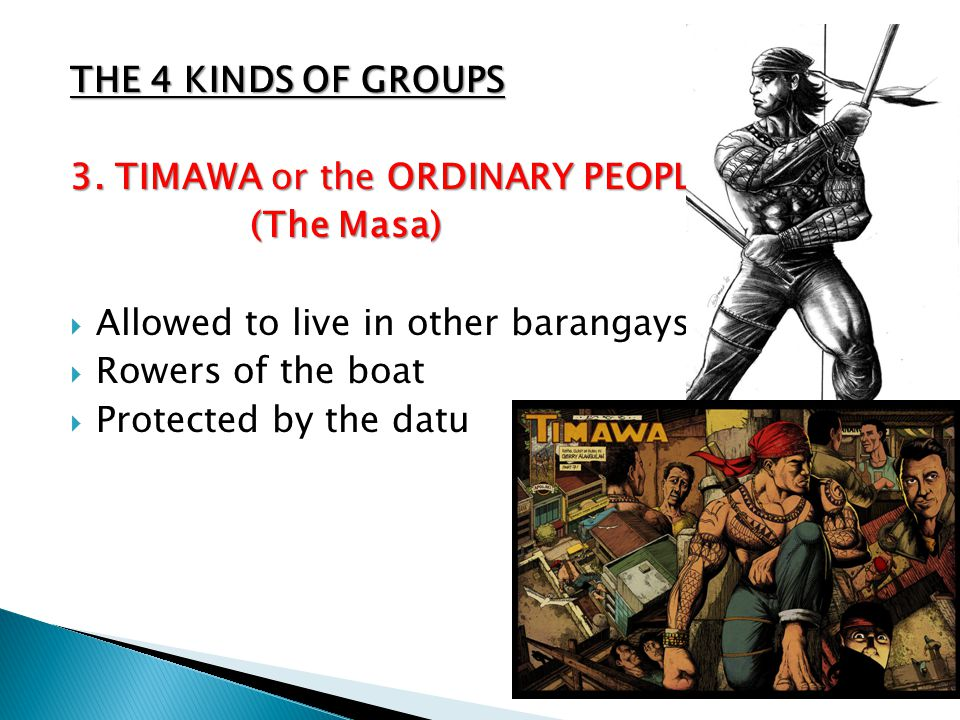 THE 4 KINDS OF GROUPS 3. TIMAWA or the ORDINARY PEOPLE. (The Masa) Allowed to live in other barangays.