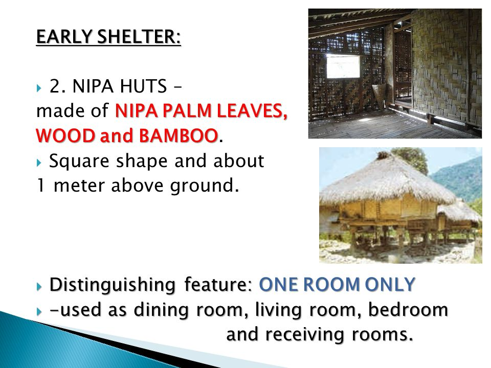 EARLY SHELTER: 2. NIPA HUTS – made of NIPA PALM LEAVES, WOOD and BAMBOO. Square shape and about.