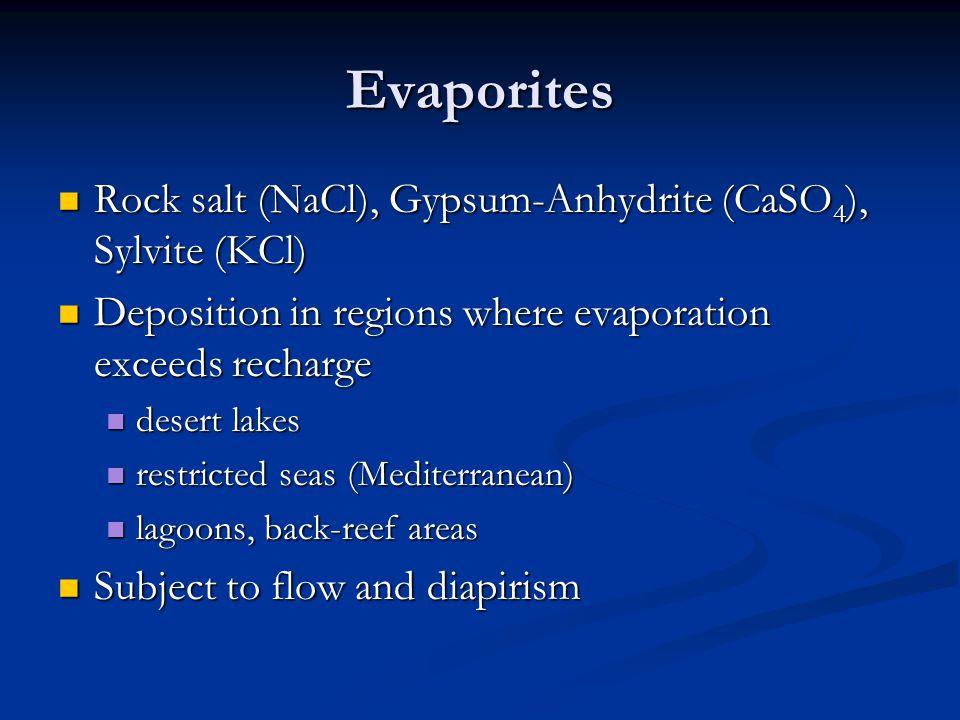 Evaporites Rock salt (NaCl), Gypsum-Anhydrite (CaSO4), Sylvite (KCl)