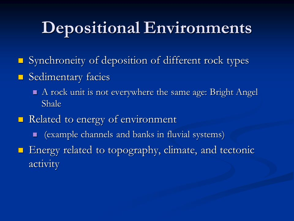 Depositional Environments