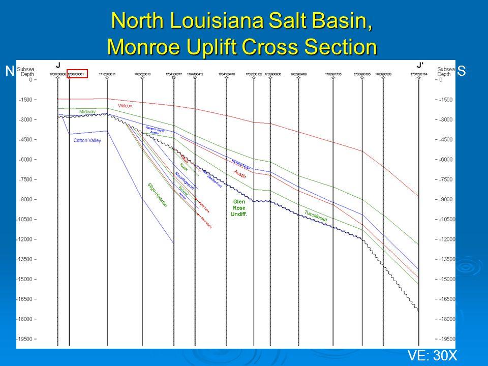 North Louisiana Salt Basin, Monroe Uplift Cross Section