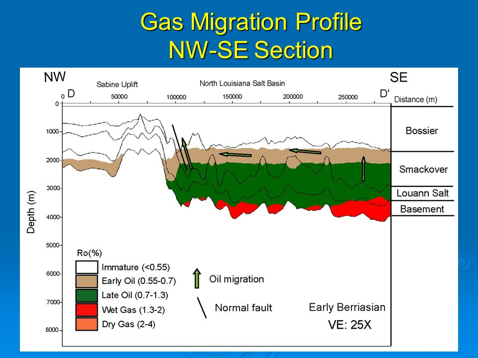 Gas Migration Profile NW-SE Section