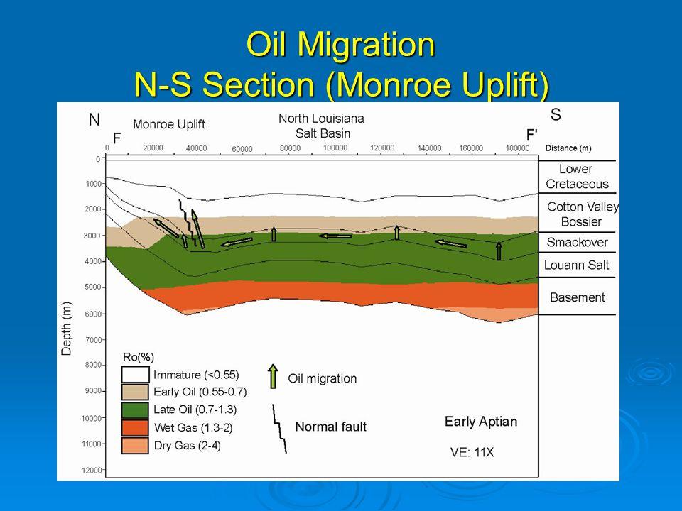 Oil Migration N-S Section (Monroe Uplift)