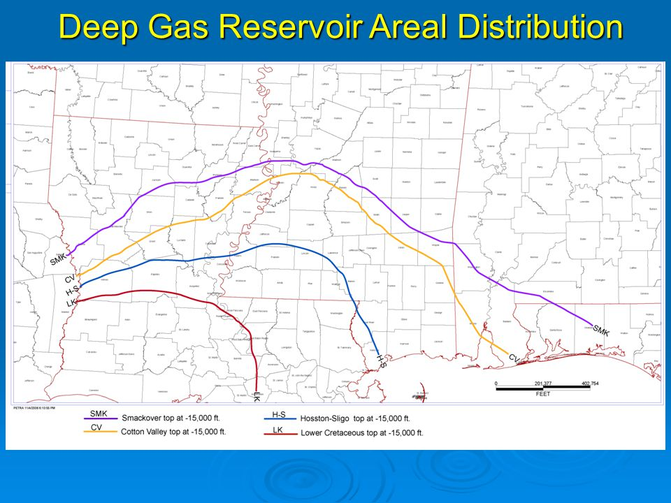 Deep Gas Reservoir Areal Distribution