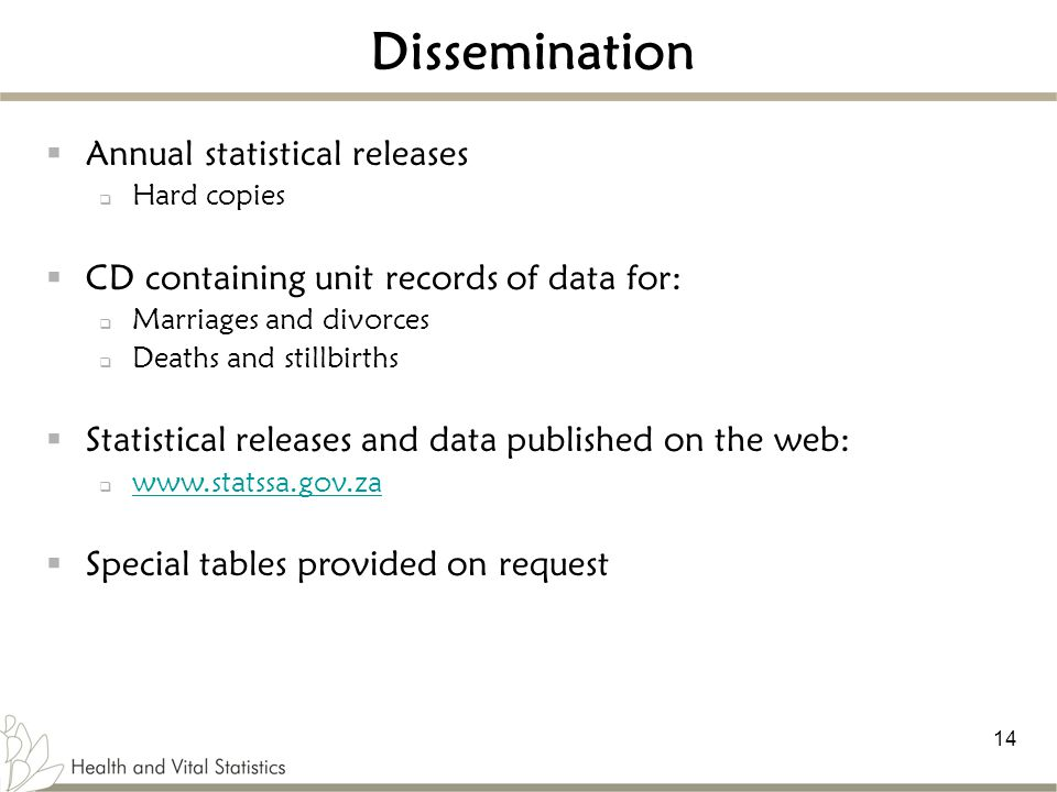Dissemination Annual statistical releases