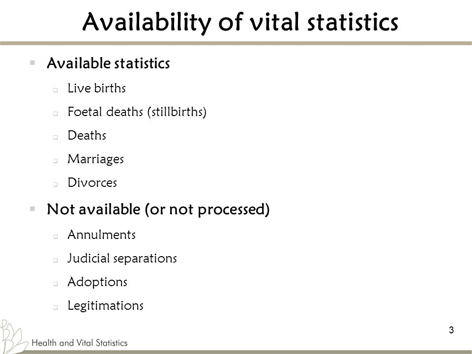 Availability of vital statistics