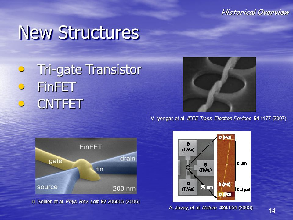 New Structures Tri-gate Transistor FinFET CNTFET Historical Overview