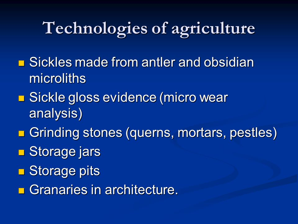 Technologies of agriculture
