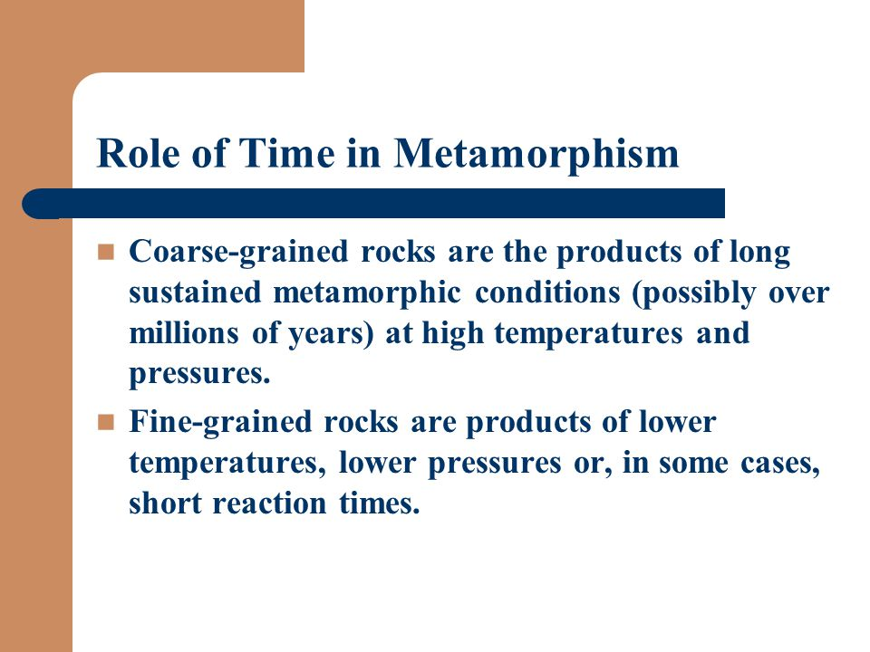 Role of Time in Metamorphism