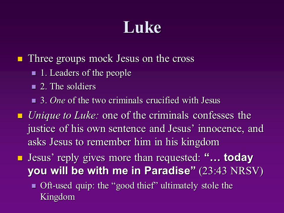 Luke Three groups mock Jesus on the cross