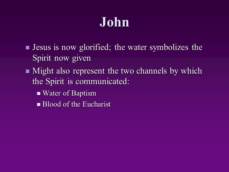 John Jesus is now glorified; the water symbolizes the Spirit now given