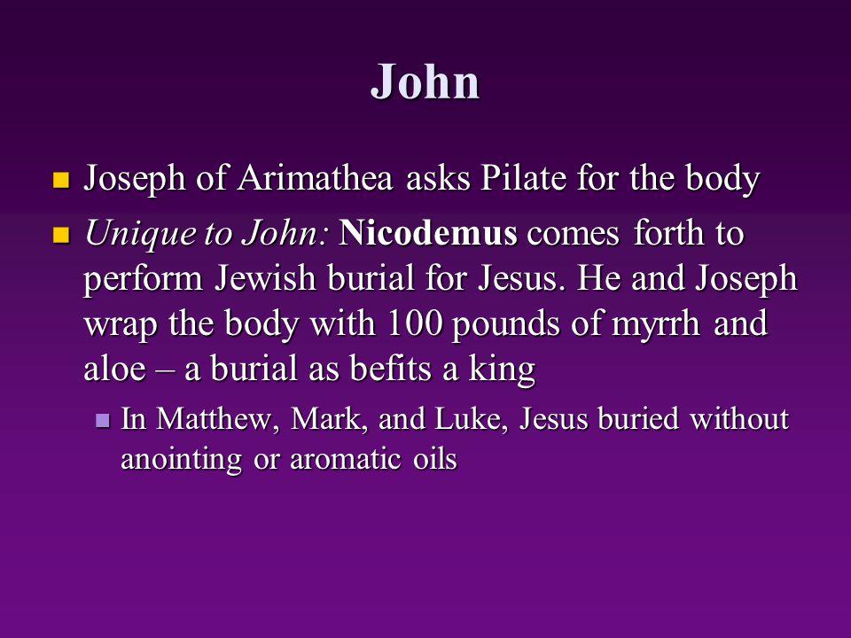 John Joseph of Arimathea asks Pilate for the body