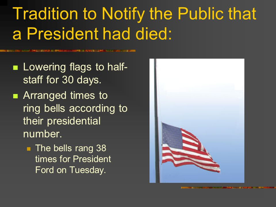 Tradition to Notify the Public that a President had died: