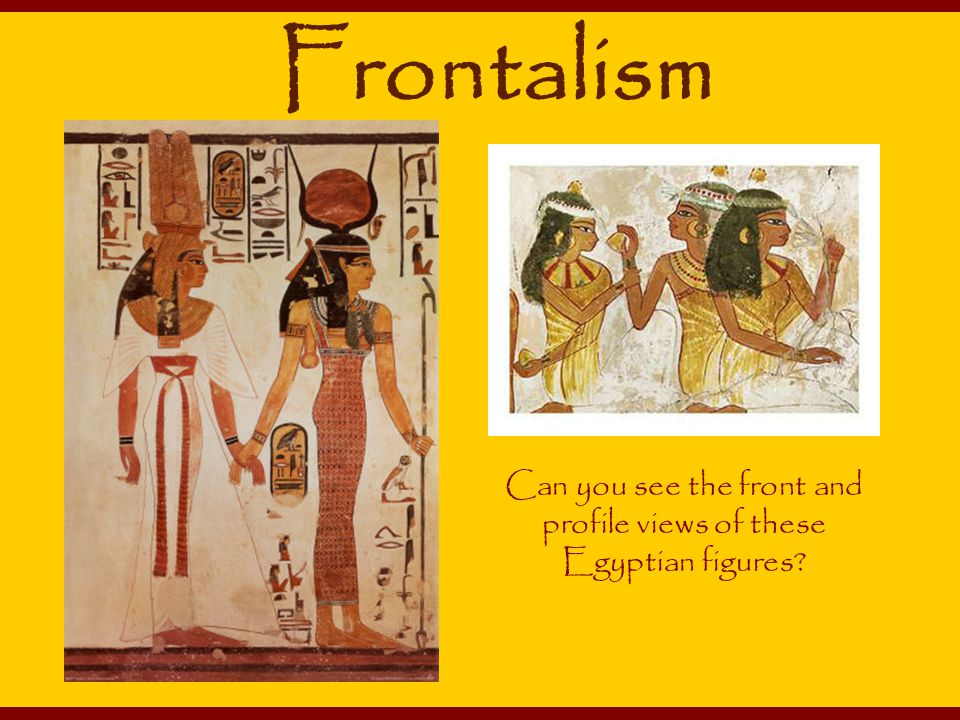 Can you see the front and profile views of these Egyptian figures