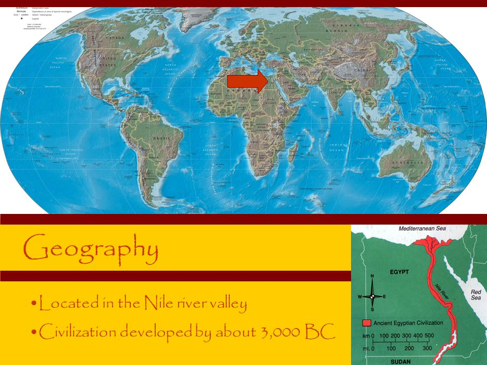 Geography Located in the Nile river valley