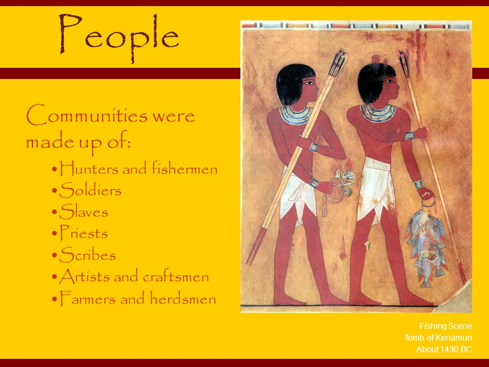 People Communities were made up of: Hunters and fishermen Soldiers