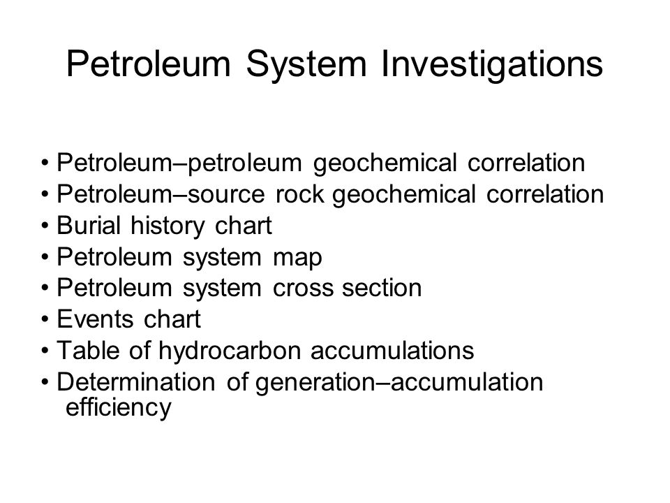 Petroleum System Investigations