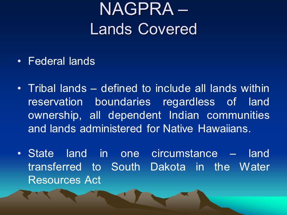 NAGPRA – Lands Covered Federal lands