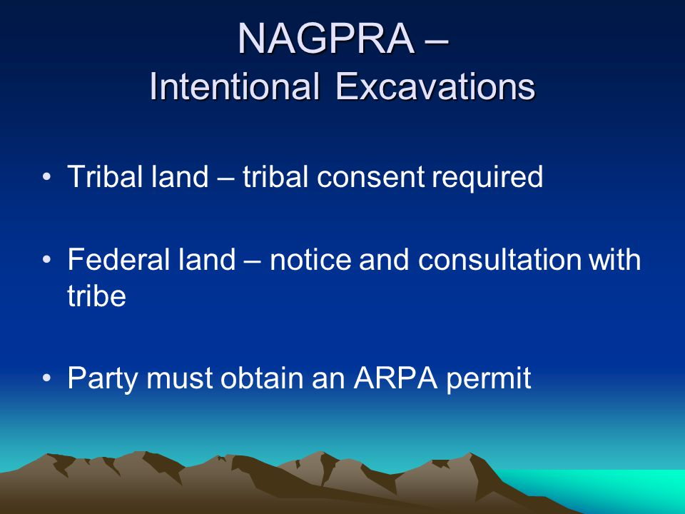 NAGPRA – Intentional Excavations