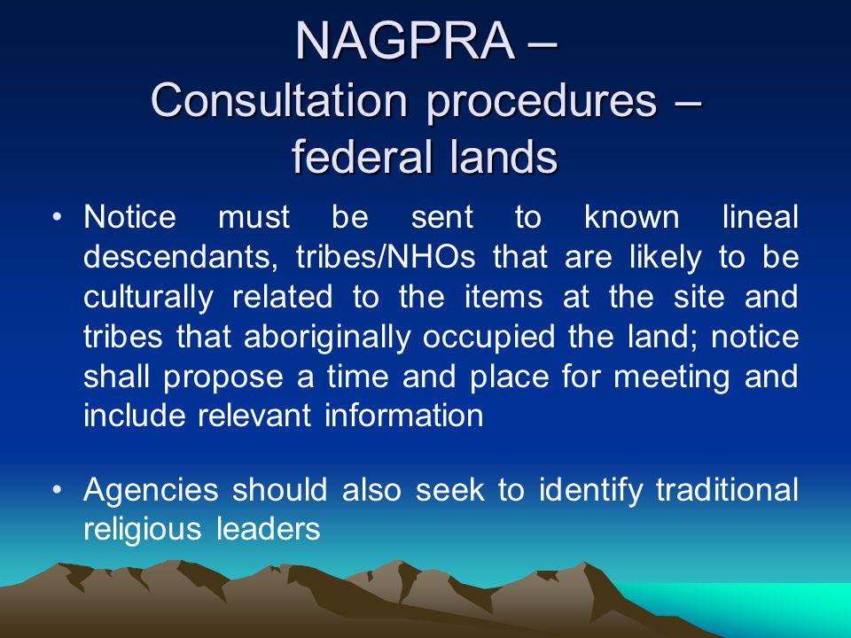 NAGPRA – Consultation procedures – federal lands