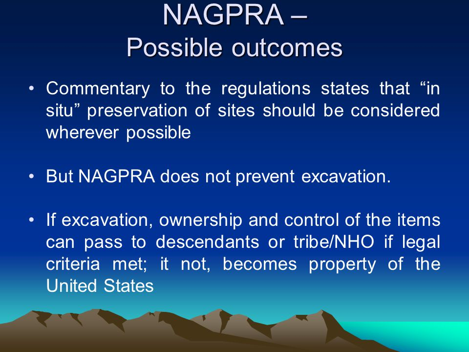 NAGPRA – Possible outcomes