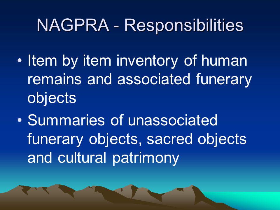 NAGPRA - Responsibilities