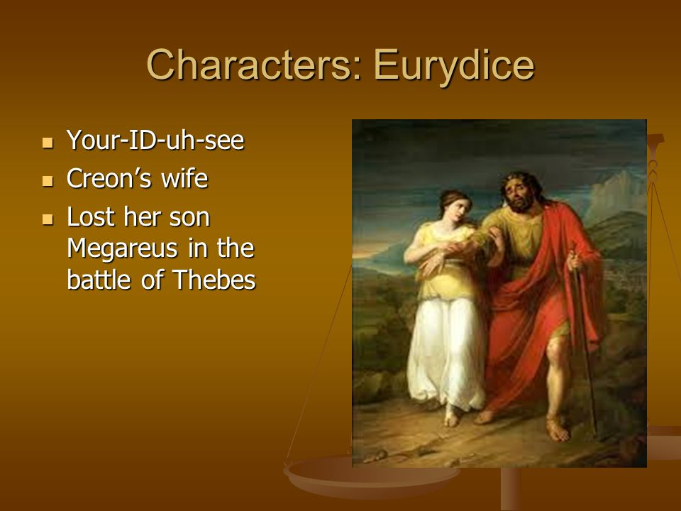 Characters: Eurydice Your-ID-uh-see Creon's wife