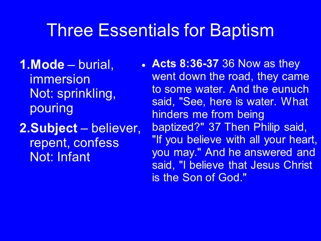 Three Essentials for Baptism