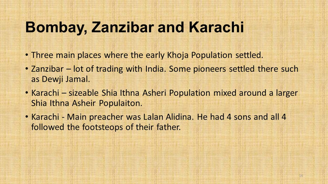 Bombay, Zanzibar and Karachi
