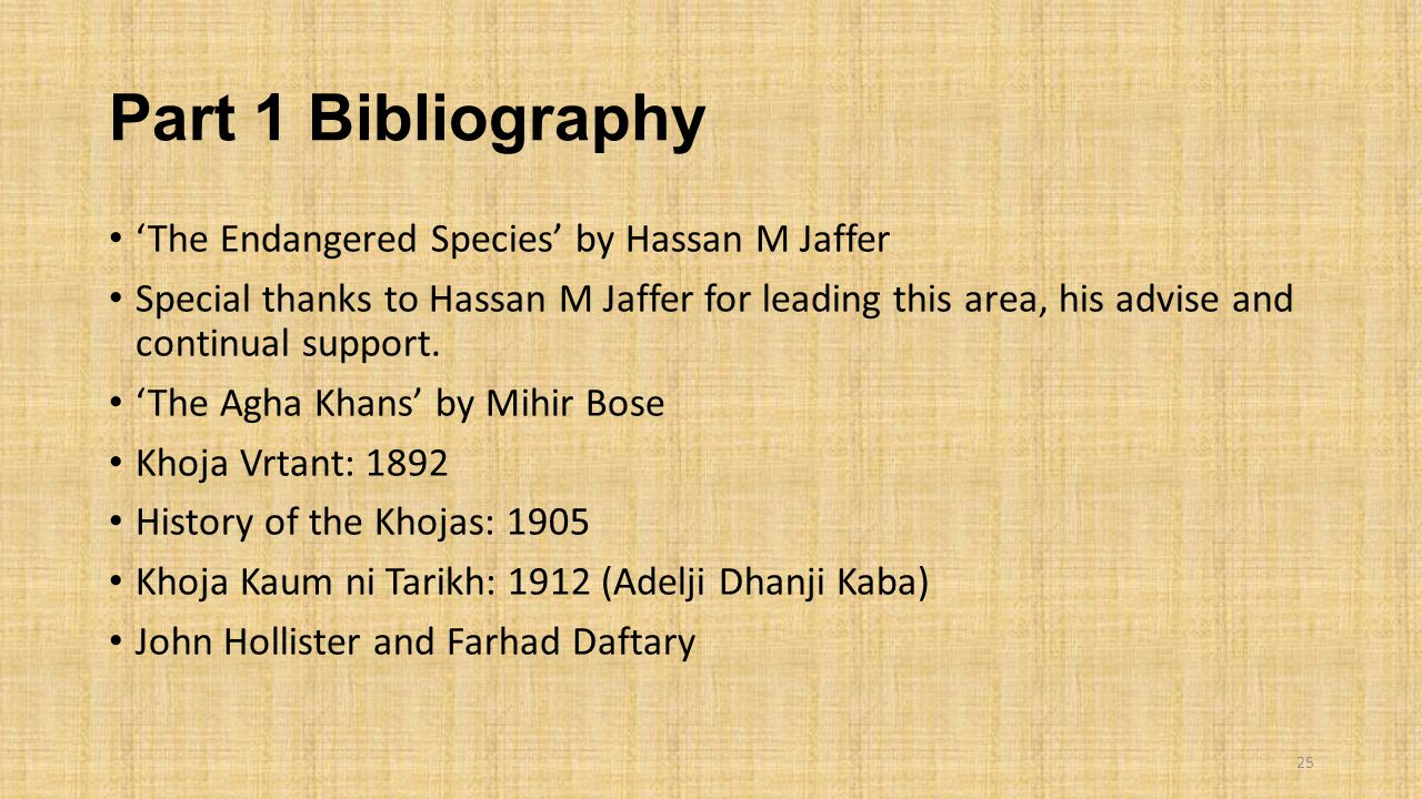 Part 1 Bibliography 'The Endangered Species' by Hassan M Jaffer