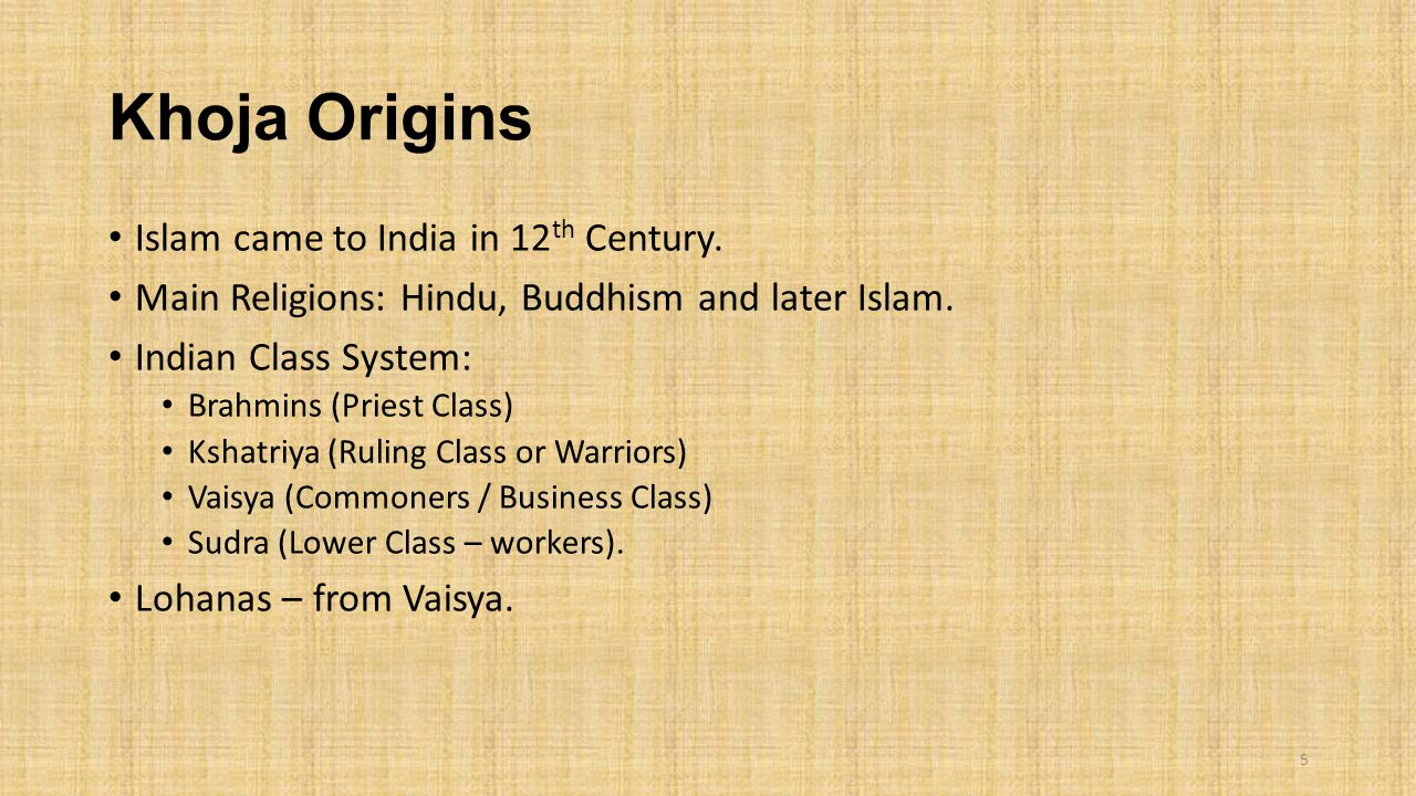 Khoja Origins Islam came to India in 12th Century.